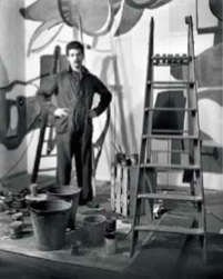 8. Karel Appel aan het werk in de buffetruimte, de zogenoemde Appelbar, van het Stedelijk Museum